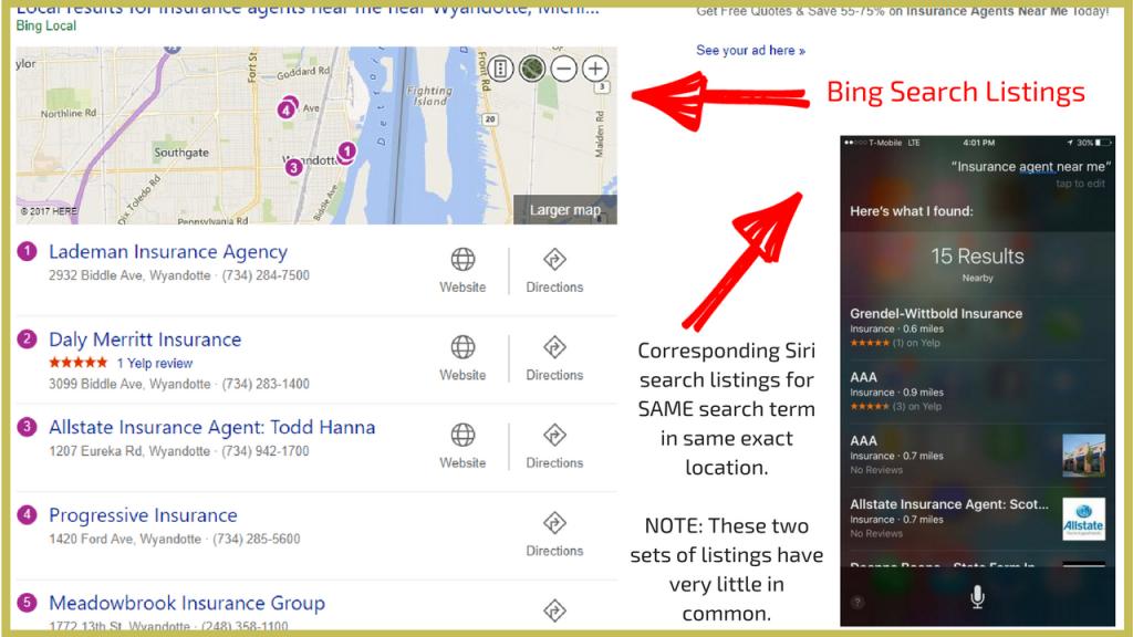 siri search listsings vs bing local search listings.