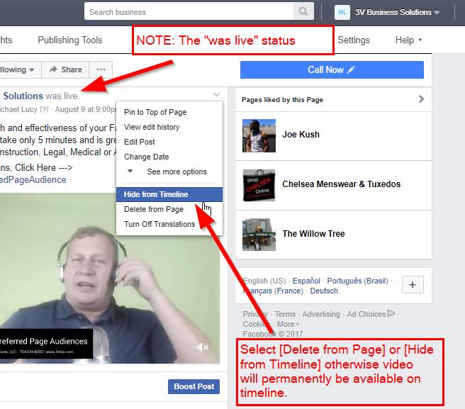 Facebook Live Video on Timeline