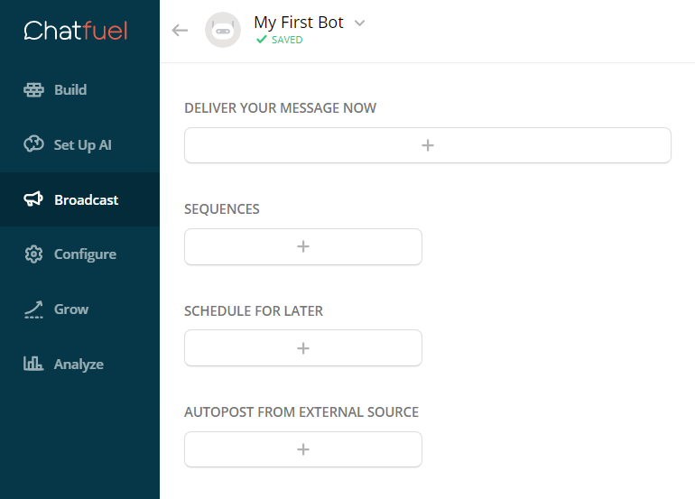 Chatfuel chatbot broadcast functionality