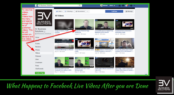 What happens to a Facebook Live Video when you are done.
