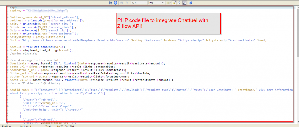Chatfuel JSON API and Zillow custom integration example in PHP