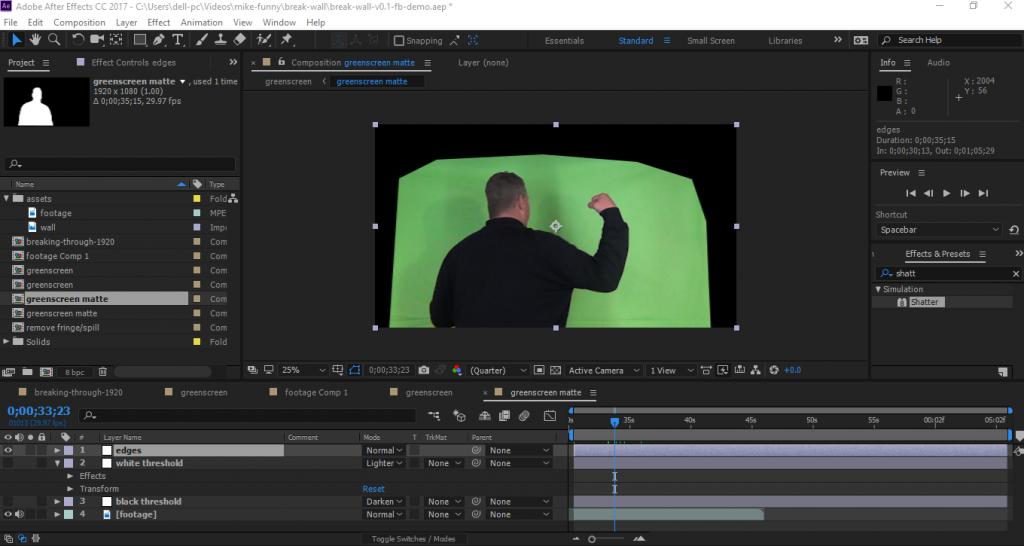 After Effects Chroma Key and Shatter Effect Before Editing