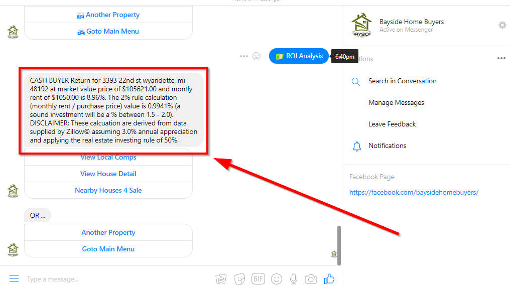 Chatfuel chatbot zillow integration for Zestimates, rental estimates and ROI analysis